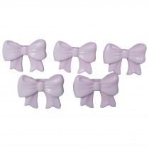 Bow Shape Buttons 16mm x 12mm Pale Pink Pack of 5