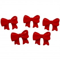 Bow Shape Buttons 16mm x 12mm Red Pack of 5
