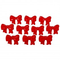 Bow Shape Buttons 16mm x 12mm Red Pack of 10