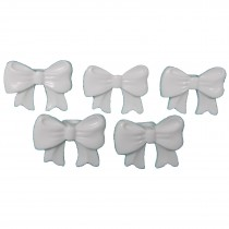 Bow Shape Buttons 16mm x 12mm White Pack of 5