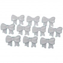 Bow Shape Buttons 16mm x 12mm White Pack of 10