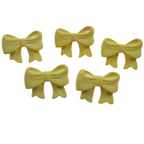 Bow Shape Buttons 16mm x 12mm Yellow Pack of 5