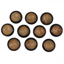 Wooden Round 2 Hole Buttons 22mm Burnt Rim Pack of 10