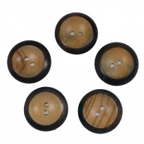 Wooden Round 2 Hole Buttons 22mm Burnt Rim Pack of 5