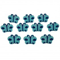 Butterfly Shape Plastic Novelty Buttons 17mm Blue Pack of 10