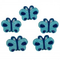 Butterfly Shape Plastic Novelty Buttons 17mm Blue Pack of 5