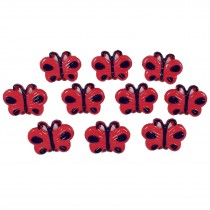 Butterfly Shape Plastic Novelty Buttons 17mm Red Pack of 10