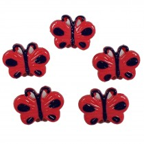 Butterfly Shape Plastic Novelty Buttons 17mm Red Pack of 5