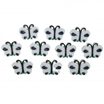 Butterfly Shape Plastic Novelty Buttons 17mm White Pack of 10