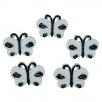 Butterfly Shape Plastic Novelty Buttons 17mm White Pack of 5
