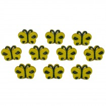 Butterfly Shape Plastic Novelty Buttons 17mm Yellow Pack of 10