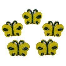 Butterfly Shape Plastic Novelty Buttons 17mm Yellow Pack of 5