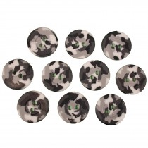 Camouflage Round Button 15mm Black and White Pack of 10