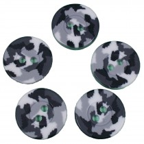 Camouflage Round Button 15mm Black and White Pack of 5