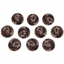 Camouflage Round Button 15mm Brown Pack of 10