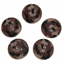 Camouflage Round Button 15mm Brown Pack of 5