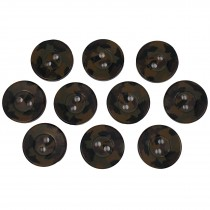 Camouflage Round Button 15mm Green Pack of 10