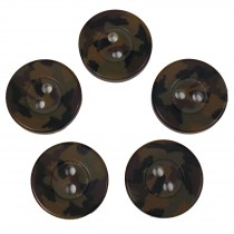 Camouflage Round Button 15mm Green Pack of 5