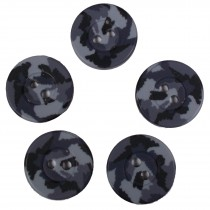 Camouflage Round Button 18mm Grey Pack of 5