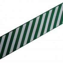 Candy Stripe Grosgrain Ribbon 9mm wide Green 1 metre length