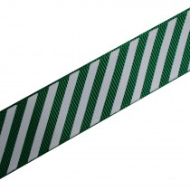Candy Stripe Grosgrain Ribbon 9mm wide Green 2 metre length