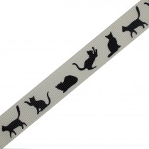 Cat Black Silhouette Cream Ribbon 16mm wide 1 metre length