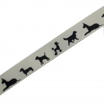 Dog Black Silhouette Cream Ribbon 16mm wide 2 metre length