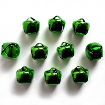 Cat Bells Sleigh Jingle Bells 8mm Green Pack of 10