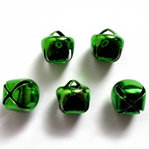 Cat Bells Sleigh Jingle Bells 12mm Green Pack of 5