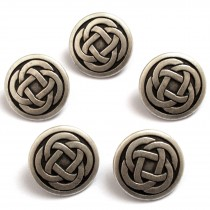 Celtic Knot Round Shank Buttons 15mm Silver Pack of 5