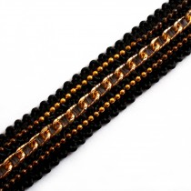 Black Braid Metal Chain Trim 15mm Wide Gold 1 metre length