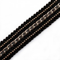 Black Braid Metal Chain Trim 15mm Wide Silver 1 metre length