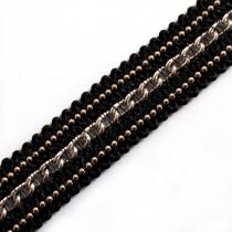 Black Braid Metal Chain Trim 15mm Wide Silver 1 metre length