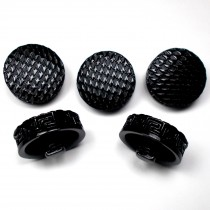 Chunky Black Coat Buttons with Greek Key Edge 27mm Pack of 5
