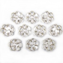Clear Plastic Flower 2 Hole Cup Buttons 15mm Almost Clear Pack of 10