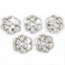 Clear Plastic Flower 2 Hole Cup Buttons 15mm Almost Clear Pack of 5