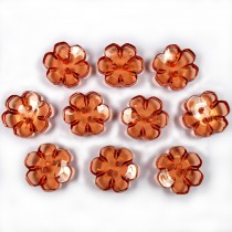 Clear Plastic Flower 2 Hole Cup Buttons 15mm Amber Pack of 10