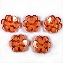 Clear Plastic Flower 2 Hole Cup Buttons 15mm Amber Pack of 5