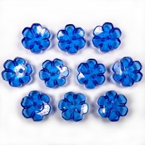 Clear Plastic Flower 2 Hole Cup Buttons 15mm Blue Pack of 10