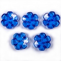Clear Plastic Flower 2 Hole Cup Buttons 15mm Blue Pack of 5