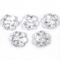 Clear Plastic Flower 2 Hole Cup Buttons 15mm Clear Pack of 5