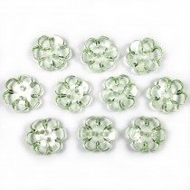 Clear Plastic Flower 2 Hole Cup Buttons 15mm Green Pack of 10