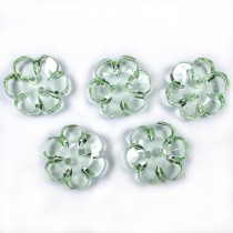 Clear Plastic Flower 2 Hole Cup Buttons 15mm Green Pack of 5