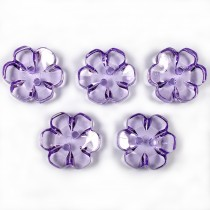 Clear Plastic Flower 2 Hole Cup Buttons 13mm Lilac Pack of 5