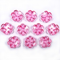 Clear Plastic Flower 2 Hole Cup Buttons 15mm Pink Pack of 10