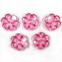 Clear Plastic Flower 2 Hole Cup Buttons 15mm Pink Pack of 5