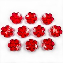 Clear Plastic Flower 2 Hole Cup Buttons 15mm Red Pack of 10
