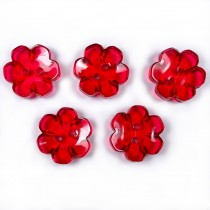 Clear Plastic Flower 2 Hole Cup Buttons 15mm Red Pack of 5