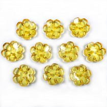 Clear Plastic Flower 2 Hole Cup Buttons 15mm Yellow Pack of 10