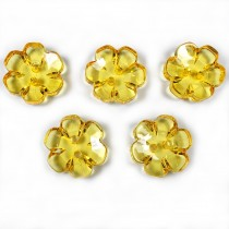 Clear Plastic Flower 2 Hole Cup Buttons 15mm Yellow Pack of 5